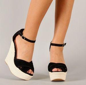 Qupid Shoes - *NWOB* Qupid Crochet Braided Platform Wedges